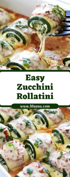 Easy Zucchini Rollatini This cheesy, Zucchini Rollatini is a delicious, veggie-loaded dish! Made with strips of grilled zucchini filled with a basil-cheese filling, then rolled and crowned with… Vegetarian Recipes, Cooking Recipes, Healthy Recipes, Diabetic Dinner Recipes, Vegetable Recipes, Easy Recipes, Easy Zucchini Recipes, Zucchini Appetizers, Zucchini