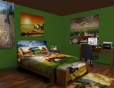 Tractor Wall Murals, plow the field without leaving bed. See our Tractor designs at http://www.visionbedding.com/WallMurals/Tractor.php