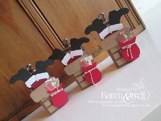 Stampin Up punch art Christmas Santa gift box