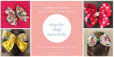 Steo by Step Tutorials for 3 different styles of hair bows you can master today Ribbon Hair Bows, Diy Hair Bows, How To Make Hair, How To Make Bows, How To Make Pinwheels, Making Hair Bows, Bow Making, Pinwheel Bow, Rainbow Loom Bracelets