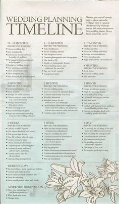wedding guideline for timeline....