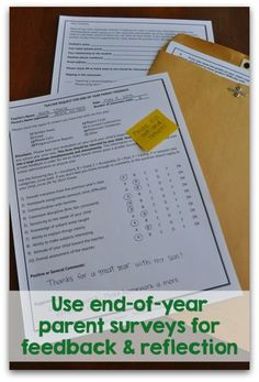How to use end of the year parent surveys for feedback. Lots of good tips here on parent volunteer surveys, report card feedback surveys, and more.