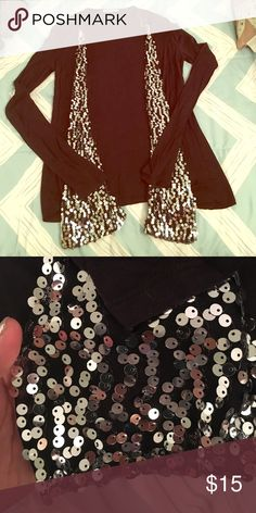 Charlotte Russe sequin cardigan Black cardigan with sequin detail. In fabulous condition Charlotte Russe Sweaters Cardigans