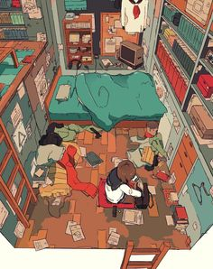 Messy Room by Daisuke Richard. Aesthetic Art, Aesthetic Anime, Bts Art, Bg Design, Character Illustration, Digital Illustration, Ligne Claire, Messy Room, Anime Scenery