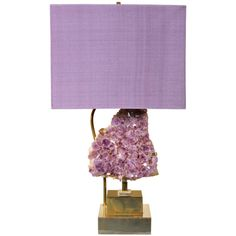 Rare Table Lamp with Large Decorative Amethysts by Willy Daro | From a unique collection of antique and modern table lamps at https://www.1stdibs.com/furniture/lighting/table-lamps/