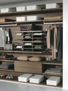 Wooden Material Usage In CLOSETS Idea For Drawers And Shelving Unit In Bedroom Design With Spacious Space