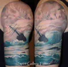 """Ocean tattoo--everything i want minus the top. love the waves and the boat omg. for my """"she is little but fierce tattoo"""""""