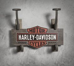 Harley Davidson themed office, or to add to the makeshift mudroom I'm putting together in the hallway, or for our jackets, etc in the bike side of the garage--Wooden Helmet & Jacket Rack