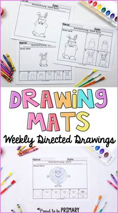 Teach and practice drawing whole group or independently with these seasonal and differentiated directed drawings for every week. Drawing Mats will help build confidence and drawing skills at the same time. Great paired with writing in a center too. Drawing Skills, Drawing Lessons, Art Lessons, Drawing Tips, Kindergarten Classroom, Art Classroom, Kindergarten Writing, Classroom Ideas, Grade 1 Art