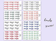 Store Hauls Planner Stickers / Michaels JoAnn Sephora
