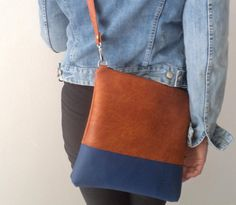 Vegan Leather Bag, Simple Crossbody Bag, Everyday Purse, Shoulder Bag, Two Tone bag by reabags on Etsy https://www.etsy.com/listing/217325214/vegan-leather-bag-simple-crossbody-bag