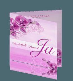 Huwelijk uitnodiging trouwkaart met orchidee in paars roze