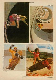 Waldo Autry, Stacy Peralta, Ty Page and Tony Alva (Skateboard! Magazine)
