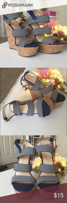 11ef5a9516e Shop Women s Jessica Simpson Blue size Wedges at a discounted price at  Poshmark. Heel platform height  Sold by Fast delivery