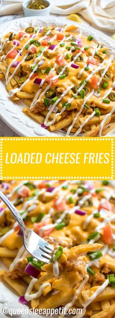 These Loaded Cheese Fries are guaranteed to be a crowd pleaser! Crisp french fries loaded with hot Italian sausage jalapeños red onions green onions tomatoes sour cream and a creamy and delicious cheese sauce! Sauce Recipes, Cooking Recipes, Healthy Recipes, Skillet Recipes, Cooking Gadgets, Pizza Recipes, Kitchen Gadgets, Casserole Recipes, Crockpot Recipes