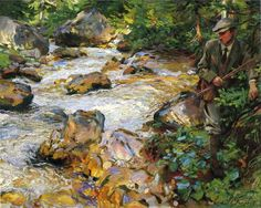 John Singer Sargent - Trout Stream in the Tyrol, 1914 at de Young Museum of Fine Arts - San Francisc Beaux Arts Paris, Victorian Art, Oil Painting Reproductions, Portraits, Museum Of Fine Arts, Famous Artists, American Artists, Canvas Art Prints, Les Oeuvres
