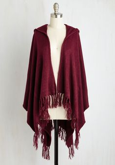 Upstate Swank Shawl in Burgundy. Fall in love with changing leaves, shifting seasons, and snuggly styles when this cozy shawl arrives at your doorstep. #red #modcloth