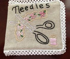 Needle Keep using Linen fabric and embroidery. Made by me Maria's Handmade Gifts on Facebook.