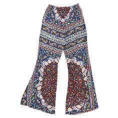 Mes Demoiselles...Paris PÉ 2012 SS Pantalon ''Gypsie'' pattes d'éléphant, fleuri bleu rouge vert blanc taille élastique 31 cm poches sur les côtés 70% coton 30% soie Longueur 97 cm, Largeur 48 cm, Entrejambe 71,5 cm