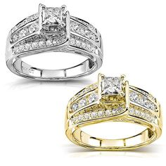 Show your eternal love with this dazzling gold diamond engagement ring. The gorgeous, princess-cut center diamond and the smaller side diamonds are sure to delight the one you love. Choose from white or yellow gold to best match your loved one's style.