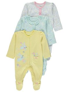 3 Pack Assorted Sleepsuits , read reviews and buy online at George at ASDA. Shop from our latest range in Baby. Ensure the sweetest of dreams with this pack ...