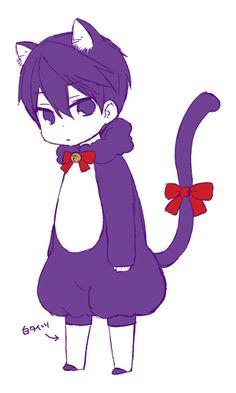 Drawn by うゆゆ ... Free! - Iwatobi Swim Club, haruka nanase, haru nanase, haru, nanase, haruka, free!, iwatobi, cat, neko