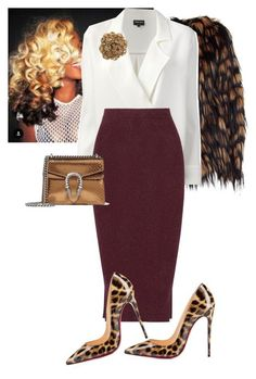 """""""Untitled #677"""" by cogic-fashion ❤ liked on Polyvore featuring Dries Van Noten, Giorgio Armani, By Malene Birger, Christian Louboutin and Gucci"""