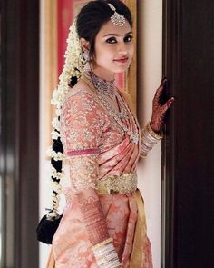 Beautiful South Indian Wedding Wear Idea :- AwesomeLifestyleFashion Different Culture have their own look and style and Kanjivaram and. Bridal Sarees South Indian, Bridal Silk Saree, Bridal Lehenga, Saree Wedding, Punjabi Wedding, Pink Saree Silk, South Indian Bride Jewellery, Telugu Wedding, South Indian Weddings