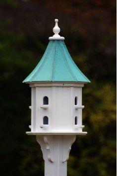 Copper Roof Dovecote Birdhouse 36x14 Slope  8 Perches