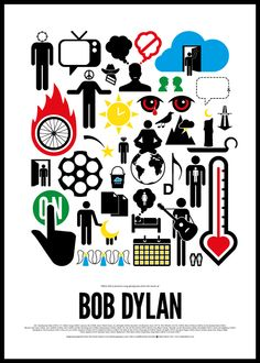 Amazing posters made by Victor Herz describing iconic bands with pictograms. Brilliant! - Bob Dylan