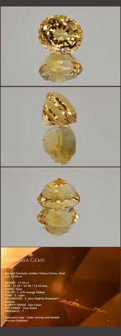 Big and Fantastic Golden Citrine. Oval Cut. 17.43 ct.  Loose Gemstones for Sale MdMaya Gems