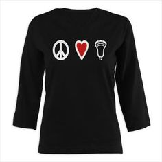 Lacrosse Peace Love Lax 3/4 Sleeve T-shirt (Dark) www.YouGotThat.net - the largest selection of lacrosse gifts anywhere. More than 400 lax designs in categories like motivation, smack talk, parodies, numbers, personalizables, women's, family, nations, lifestyle, goalies, middies, attack & defense – we have something for every player and fan (and if we don't we'll make it). Like us on www.facebook.com/YouGotThat and be the first to see new designs. #Lacrosse #Lax #Lax gifts #Lacrosse Gifts