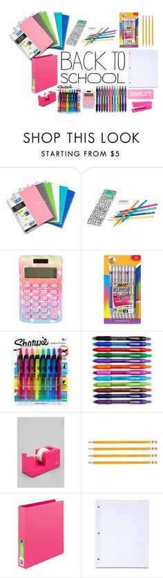 """""""Back to school supplies YAY!"""" by foreverloveemoji ❤ liked on Polyvore featuring interior, interiors, interior design, home, home decor, interior decorating, Happy Jackson, BIC, Sharpie and Paper Mate"""