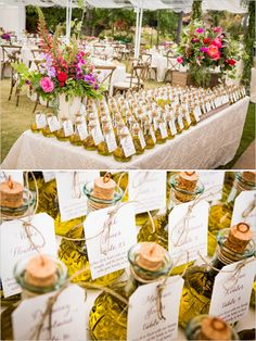 Elegant Wedding Favor Ideas: Homemade olive oil wedding favors and table placements.