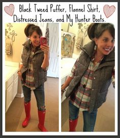 Plaid Flannel, Black Tweed Puffer (that is back in stock!), skinny jeans, and my red Hunter boots! Mommy Style, Preppy Style, Typical White Girl, Red Hunter Boots, Fall Outfits, Cute Outfits, Hunter Outfit, Flannel Shirt, Plaid Shirts
