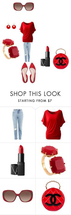 """""""All Decked Out in Red"""" by hanna-debruhl ❤ liked on Polyvore featuring Topshop, NARS Cosmetics, Les Néréides, Versace, Erica Lyons and Chanel"""