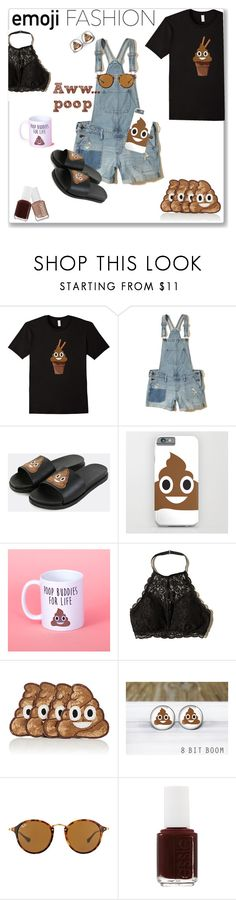 """PoOp EmOjI fAsHiOn"" by smiling-sam ❤ liked on Polyvore featuring Hollister Co., Kim Seybert, Ray-Ban, Essie and emojifashion"