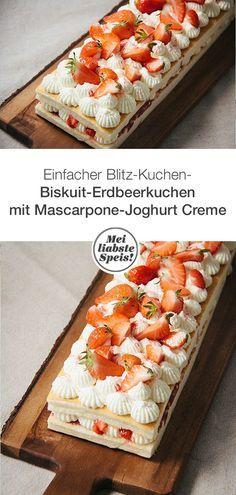 Dieser blitzschnelle Erdbeer-Mascarpone-Joghurt Kuchen mit feinem Biskuit steht in weniger als einer Stunde auf dem festlichen Tisch. #blitzkuchen #erdbeerkuchen #mascarpone #joghurt #creme