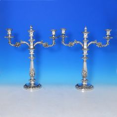 Antique Old Sheffield Plate 3 Light Candelabra - Circa 1830 - William IV - image 1 Vintage Silver, Antique Silver, Silver Candelabra, Acanthus, Sheffield, Silver Plate, Candle Holders, Candles, Plates