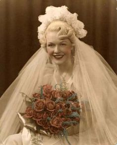 1930s-1940s? Wedding Photo of Color Tinted Blonde Bride - love the headpiece and her bangs  | eBay