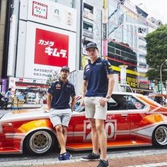 Daniel Ricciardo and Max Verstappen with the Kaido Racer in Tokyo