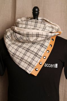 Unisex Scarf with Snaps (Ivory Plaid ) Light Cognac Leather Trimming