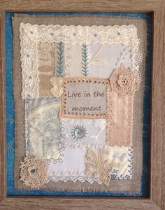 Patchwork sampler made with old lace and embroidery