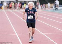 Amazing:Julia 'Hurricane' Hawkinsjust set a new record for her age group by completing the 100-meter race in just over 40 seconds at age 101 years old on Saturday (above)