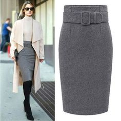 new fashion autumn winter style cotton plus size high waist saias femininas casual midi pencil skirt women skirts female