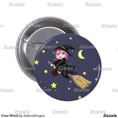 Cute Witch Pinback Button #cats #halloween #blackcat #witch #magic