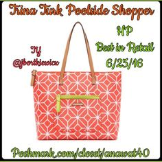 HP Trina Turk Tote Trina Turk Tote poolside or any side for that matter, this shopper tote carries all your essentials in bold fashion. in a vibrant floral or modern graphic pattern, we love how the contrast trim pops and that it's a structured tote that has lasting style. Includes inside pouch green with cellphone holder and two pockets. Pair with your favorite fashion ensemble. Trina Turk Bags Totes