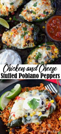 Chicken and Cheese Stuffed Poblano Peppers Stuffed Poblano Peppers recipe are smoky and loaded with chicken, cheese, beans, corn and tomatoes. Quick and easy for a delicious weeknight meal! Top Recipes, Mexican Food Recipes, Cooking Recipes, Healthy Recipes, Healthy Food, Recipies, Dinner Healthy, Side Recipes, Healthy Dinners
