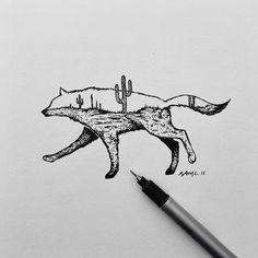 Wolf desert cactus drawing - Sam Larson