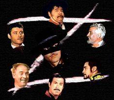 C: Zorro (Guy Williams) Clockwise from top: Sgt. Garcia (Henry Calvin), Don Alejandro (George J. Lewis) Capitan Monistario (Britt Lomand) Corp. Reyes (Don Diamond), Bernardo (Gene Sheldon) and Don Diego (Guy Williams again-full circle)